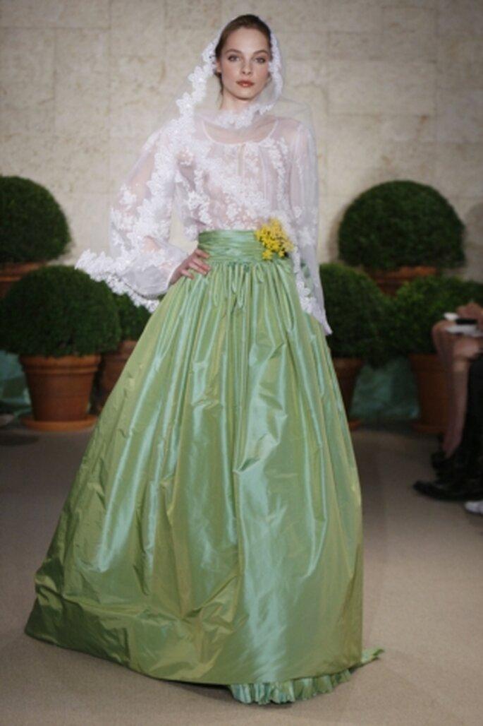 Vestido de novia verde de Óscar de la Renta