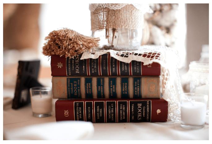 Libros en la decoración de tu boda - Foto Nathan Westerfield