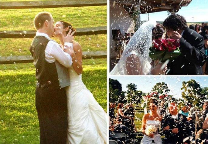 Chuva de arroz para os recém casados