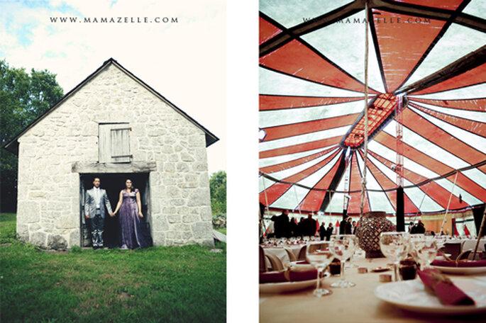 Die rot, weißen Farben des Zelts stand als Deko für sich. - Foto: www.mamazelle.com
