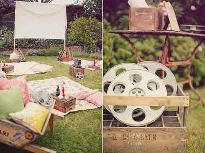 Escenario de película para exteriores. Foto por Design Sponge