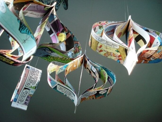 Recycled comic book hanging room ornaments by Etsy seller bookity