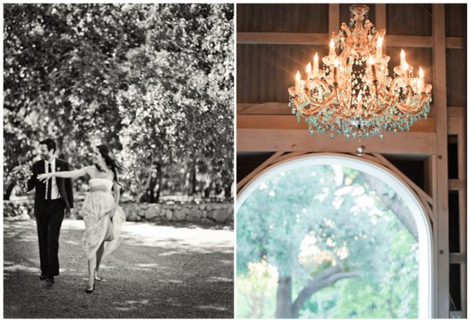 Decoración de boda con elegantes candelabros - Foto Amy & Stuart