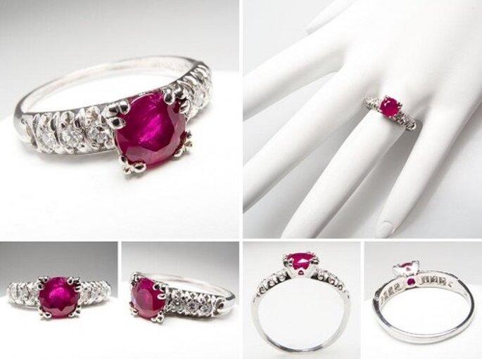 Anillo de compromiso con rubi y diamantes - Foto Eragem