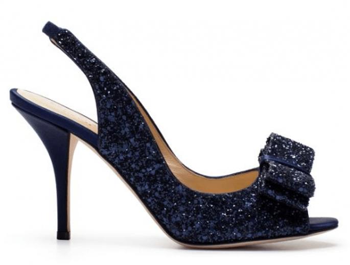 Chaussures de mariée bleues métalliques - Photo Kate Spade