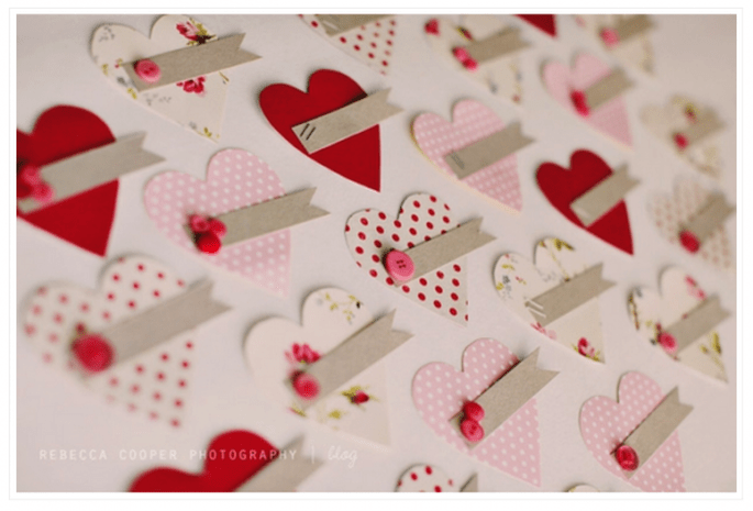 Decoración de boda inspirada en San Valentín - Foto Rebecca Cooper Photography