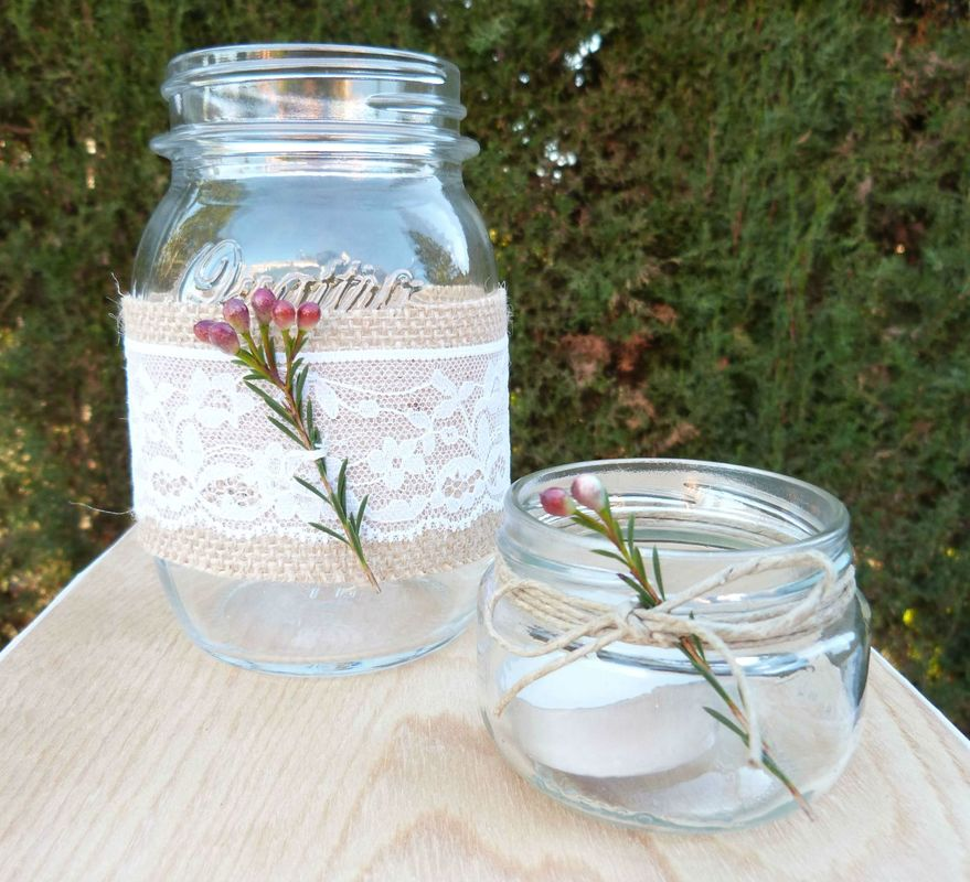Mason jars decorados por BWE