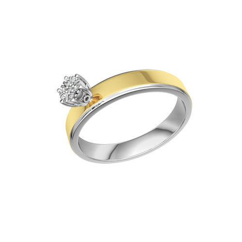Beispiel: Verlobungsring Silber und Gelbgold mit Diamant, Foto: Designer Diamonds München.