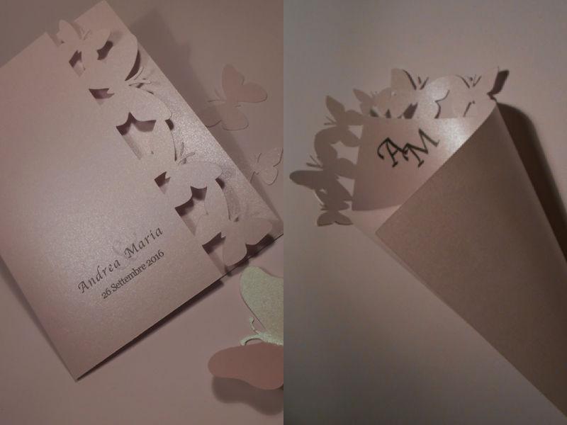 Libretto Messa e Cono Portariso con intaglio farfalle