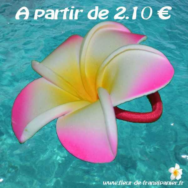 Elastique pour cheveux ornés de fleurs de frangipanier de 5 ou 8 cm. Nombreux coloris disponibles.