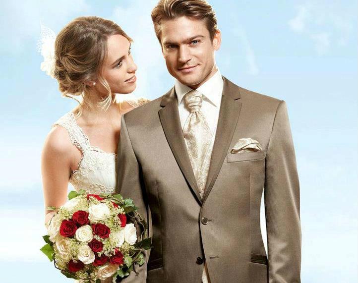 Beispiel: Ihr Hochzeitsanzug in Krokant, Foto: Wilvorst.
