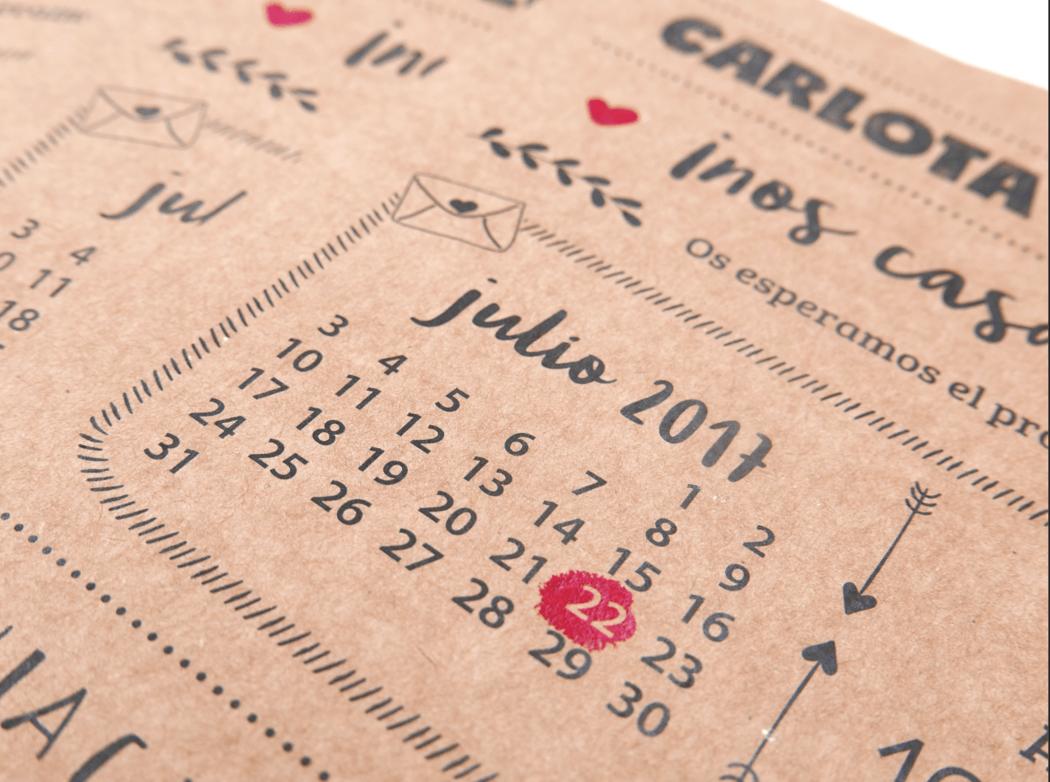 Detalle de la invitación modelo Calendario, novedad 2017!