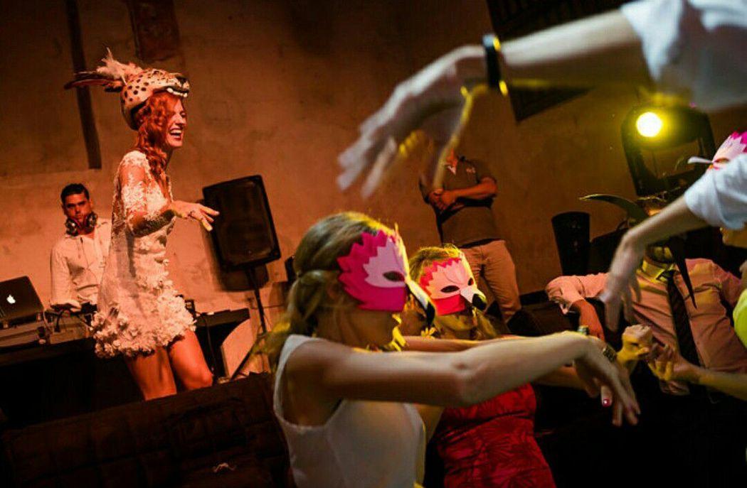 Accesorios para hora loca Amazonas (el flamingo rosado, invitados)