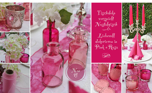 Tischdeko im Vintage Stil - In den Farbentönen fuchsia und rosa  Der ausdrucksstarke Pink-Ton gibt Ihrer Hochzeitsdeko Charakter. Diese leuchtende Farbe wirkt fröhlich und ausgelassen – perfekt auch für Kindergeburtstag, Gartenparty und Jahrestag. Viele tolle Accessoires in Fuchsia – unsere Dekobeispiele zeigen, wie's geht!