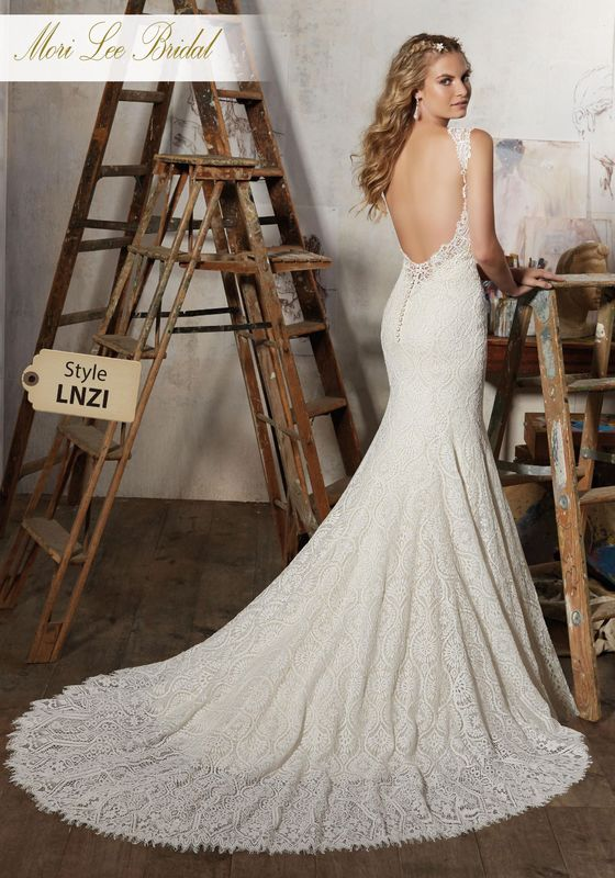 Dress style LNZI Macy Wedding Dress  Available in Three Lengths: 55″, 58″, 61″. Colors Available: White, Ivory, Ivory/Light Gold. Shown in Ivory/Light Gold.