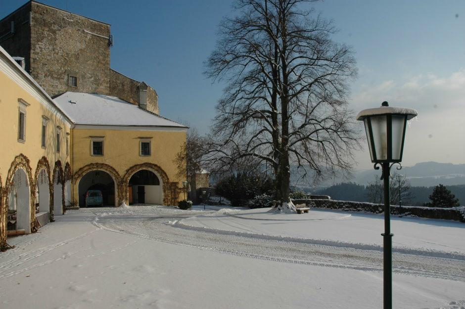 Beispiel: Außenansicht im Winter, Foto: Burg Kreuzen.