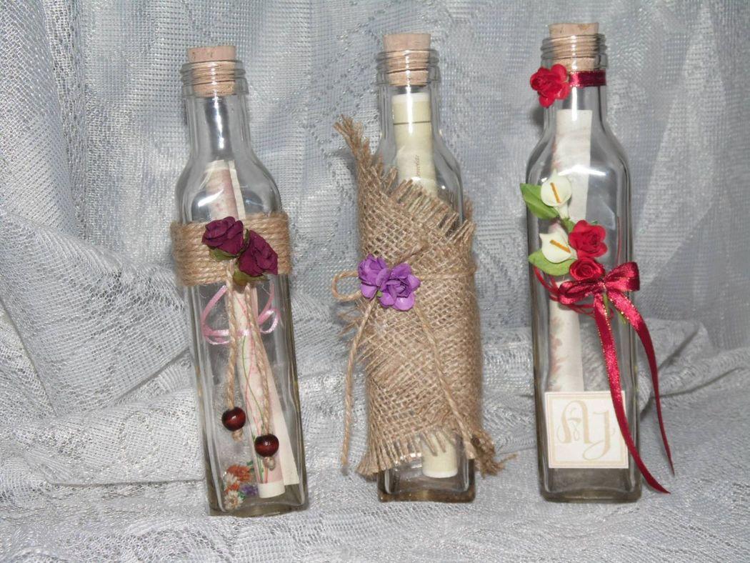 Invitaciones en botella de vidrio