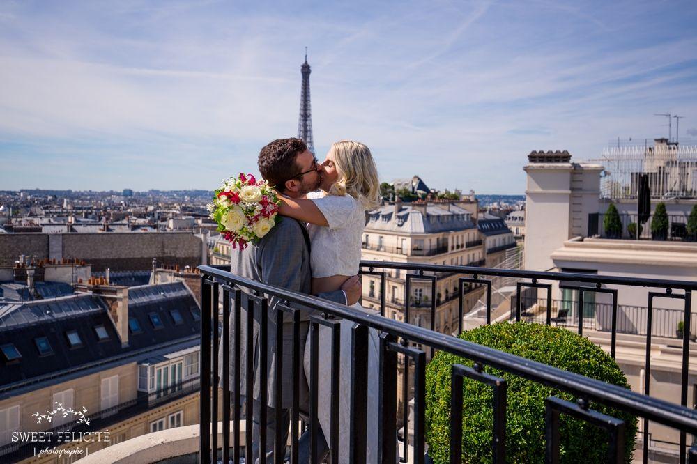 Sweet Félicité Photographe Mariage Wedding Paris Four Seasons, Georges V, Tour Eiffel, rooftop,