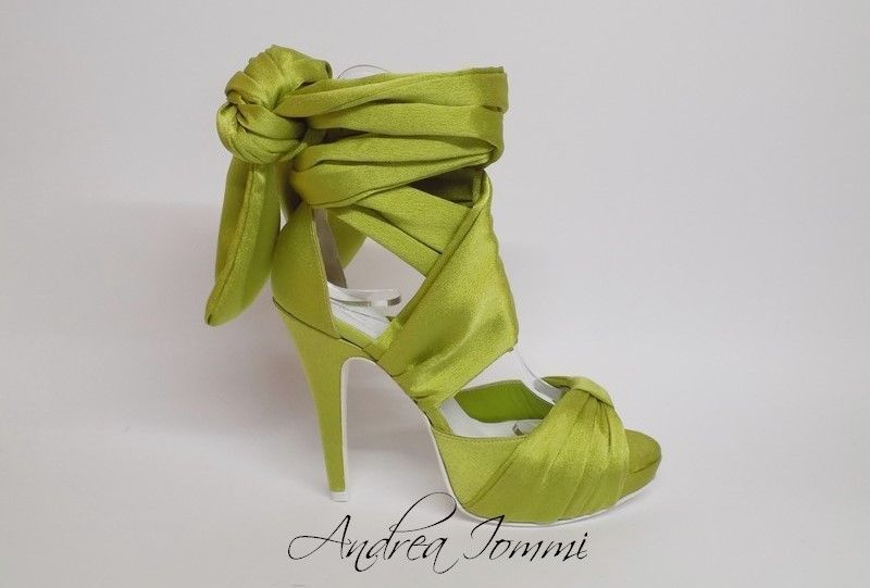 sandali da sposa colorati greenery