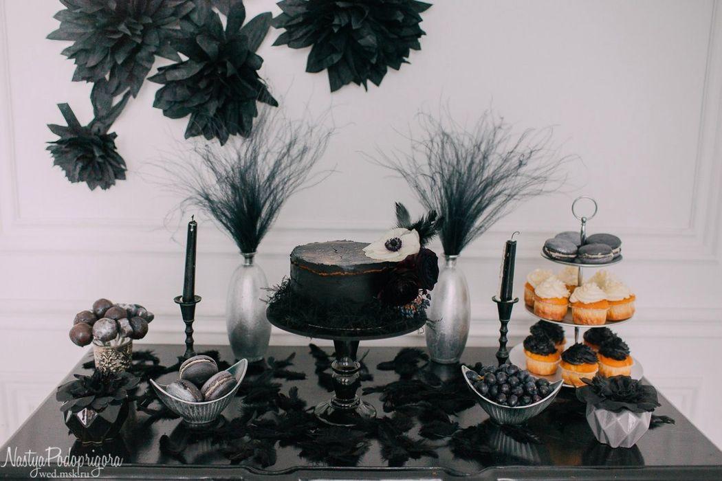 Черный торт и сладкий стол на воркшоп