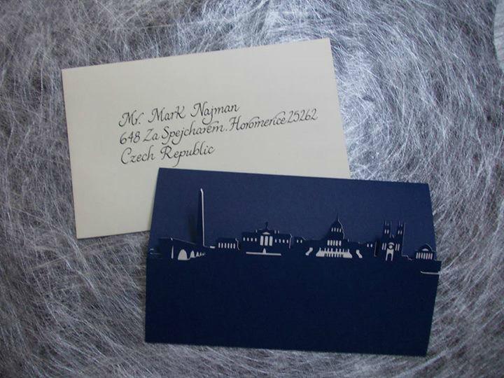 Invitación de boda en Washington con corte especial con los monumentos de la ciudad.