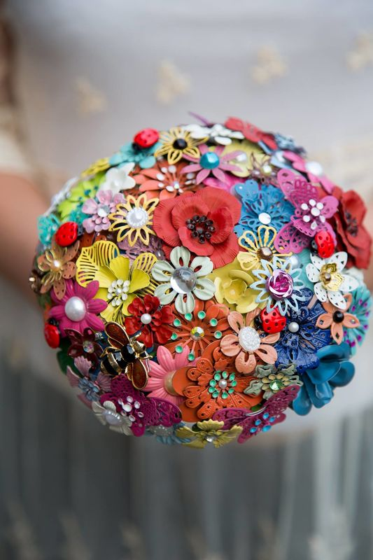 enamel brooch bouquet summer mix