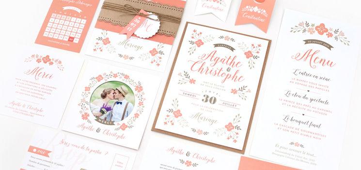 Invitation de mariage Jardin Champêtre (collection disponible chez Print Your Love)