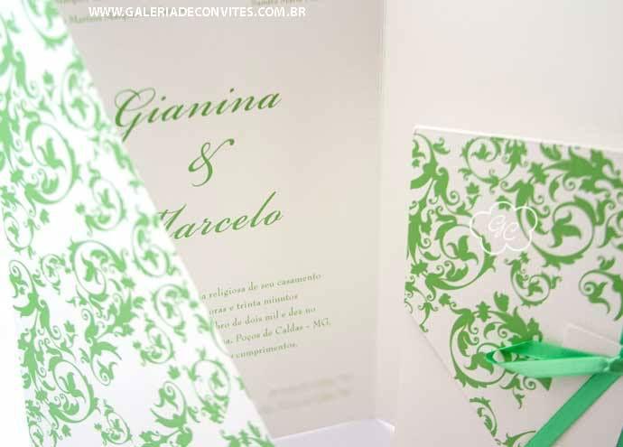 Convite de casamento moderno. Envelope e convite na mesma peça. Impressão em relevo. Modelo 58.  Cores e tipo de papel opcionais.