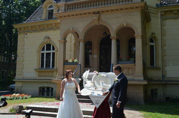 Beispiel: Herzkorb, Foto: Losters Weisse Hochzeitstauben.