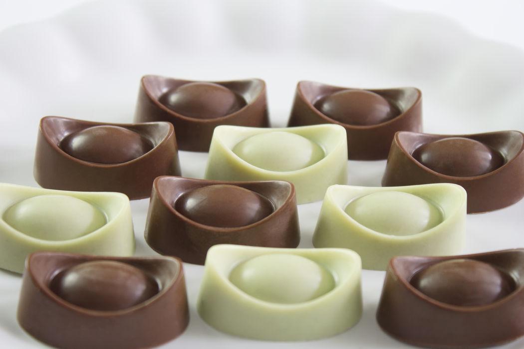 Chocolate de Pistache e Chocolate de Especiarias.