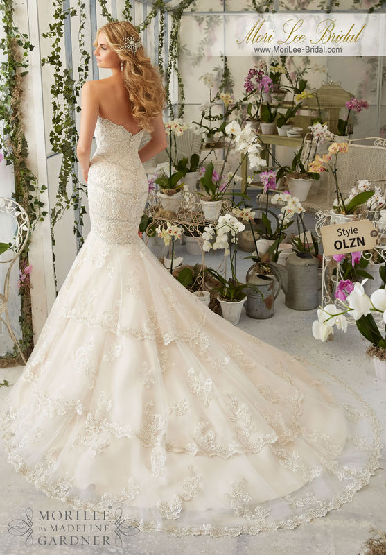"""Dress Style OLZN Embroidered Appliques And Edging With Crystal Beading On Tulle  Available in Three Lengths: 55"""", 58"""", 61. Colors available: White/Silver, Ivory/Silver"""