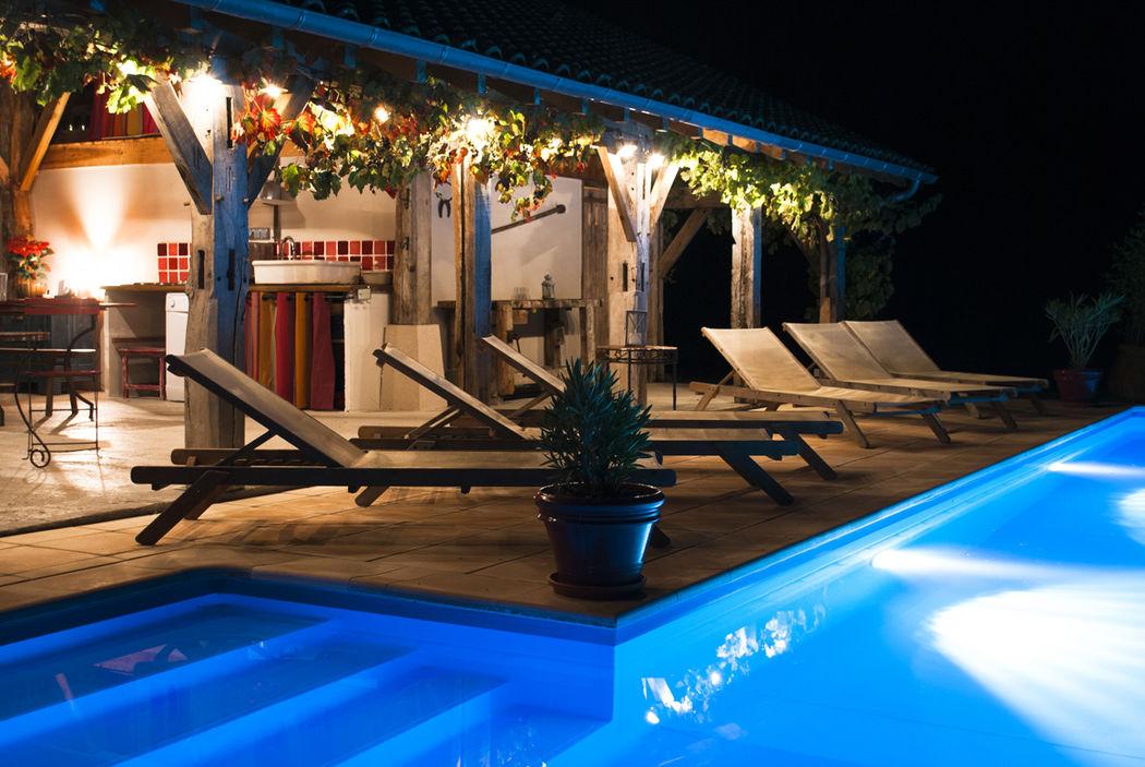 La Bergerie - Pool house de nuit - © Alexandra Pottier
