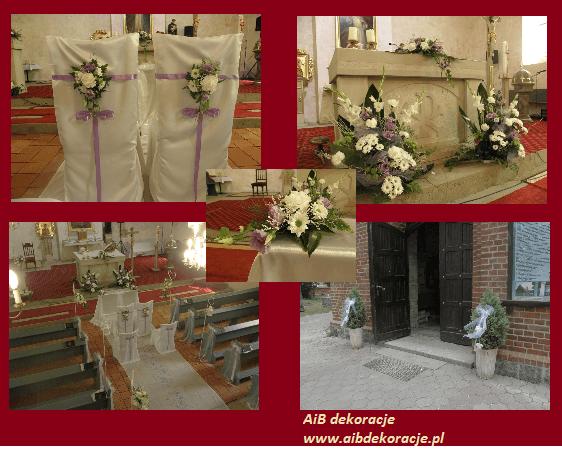 Dekoracje kościoła w Wołczkowie.Dekoracje z fioletowym motywem przewodnim.
