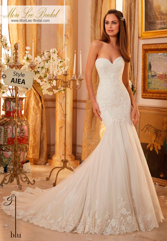 Dress Style AIEA  EMBROIDERED LACE OVER CHANTILLY LACE AND TULLE WITH SCALLOPED HEMLINE  Available in Three Lengths: 55