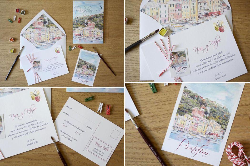 Conjunto de papelería Portofino. Invitaciones alegres y diferentes.