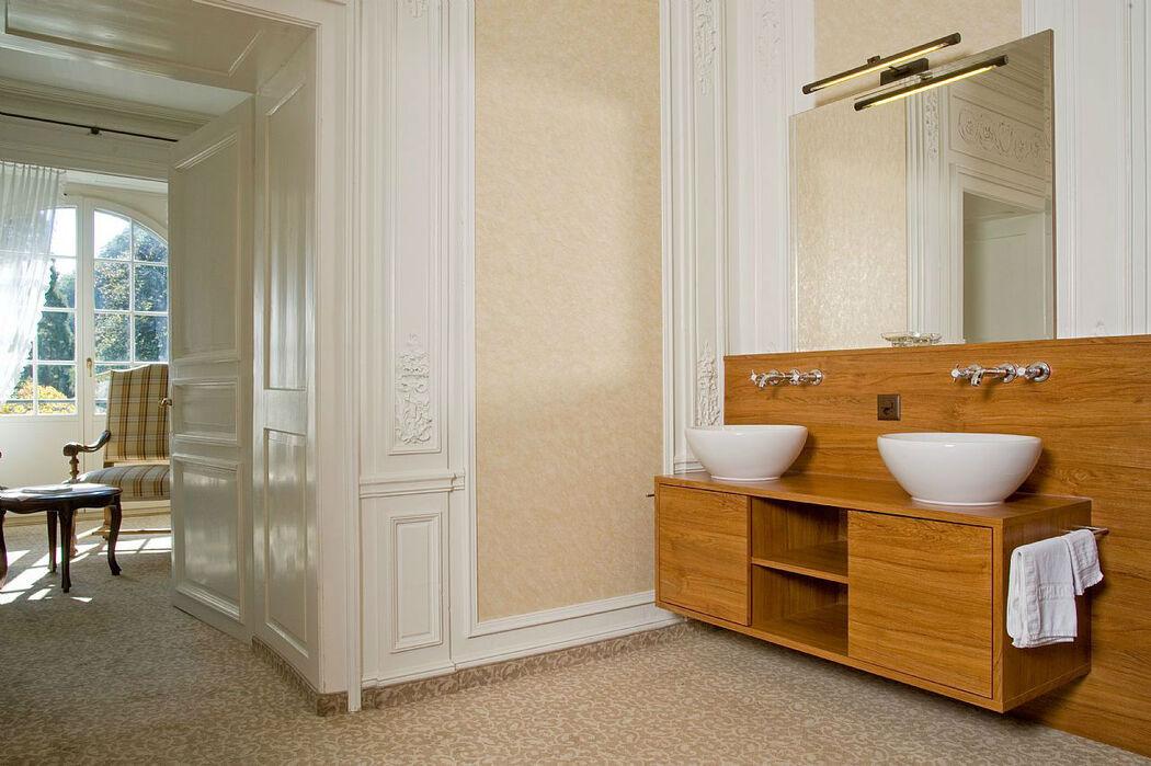 Beispiel: Badezimmer, Foto: Hotel Schloss Ragaz.