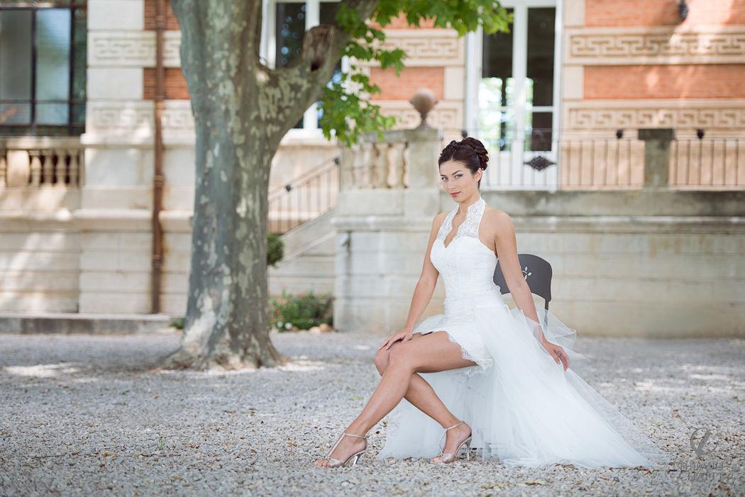 robe ALLIANCE version courte - collection  Mariées de Provence 2017