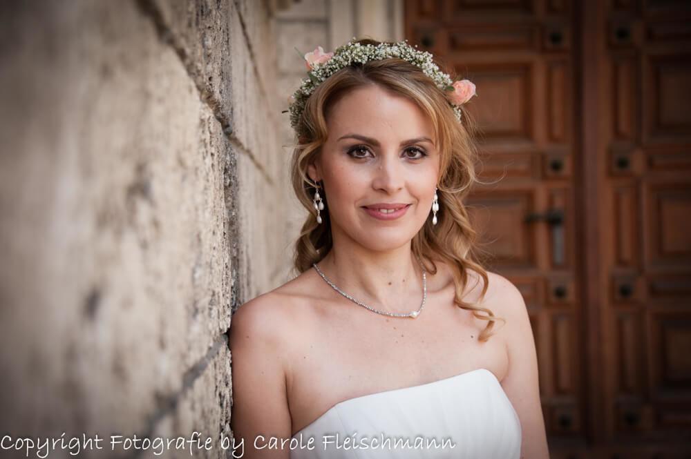 Beispiel:Portrait von der Braut,Foto:Carole Fleischmann Fotografie