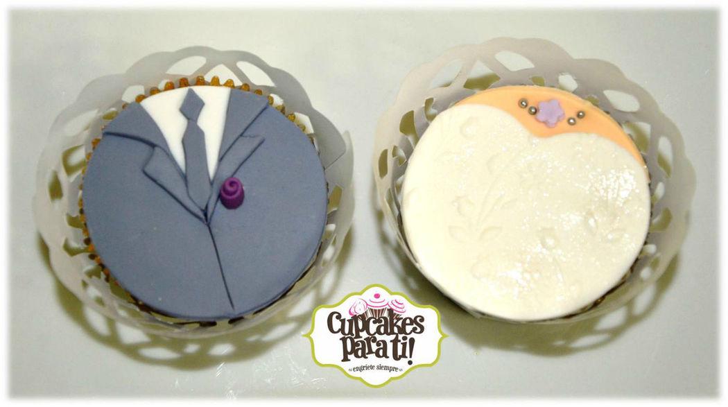 Cupcakes para ti! Cupcakes novio y novia