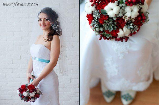 Флорист Кристина Каберне. Зимний букет невесты.  Фотограф Ирина Макушина