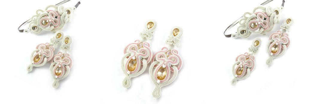 Małgorzata Sowa - PiLLow Design, Komplet ślubna sutasz. Ażurowy, dwustronny komplet ślubny - kryształy Swarovski, sutasz, srebro