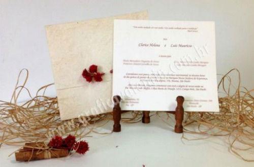 convite rústico em papel artesanal