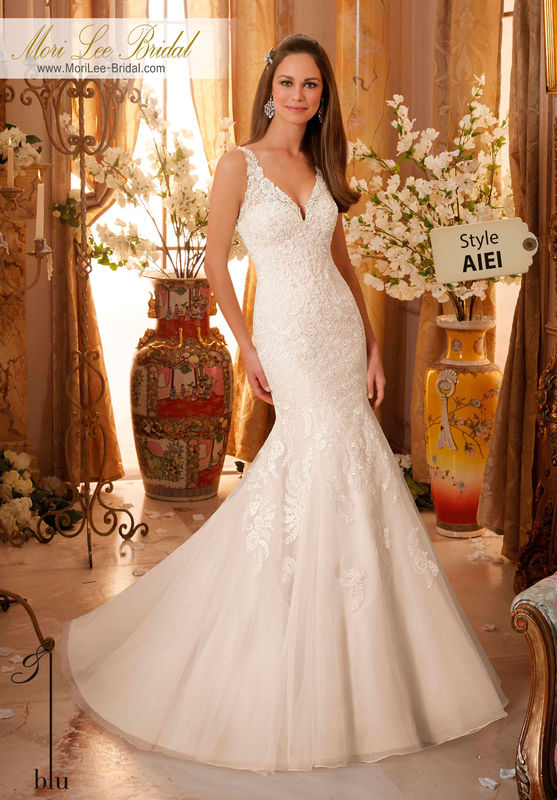 Dress Style AIEI  DELICATE BEADING ON EMBROIDERED APPLIQUES ONTO SOFT TULLE  Colors Available: White, Ivory, Ivory/Light Gold