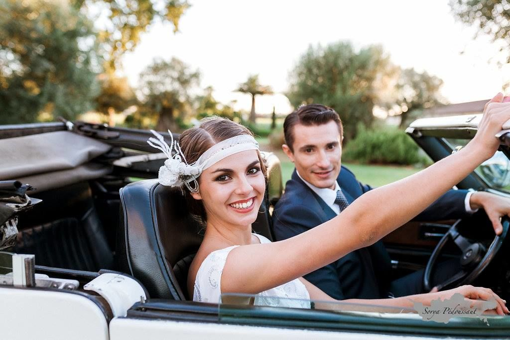 Headband Gatsby, robe Atelier d'Elea, Christelle Guegan wedding planner