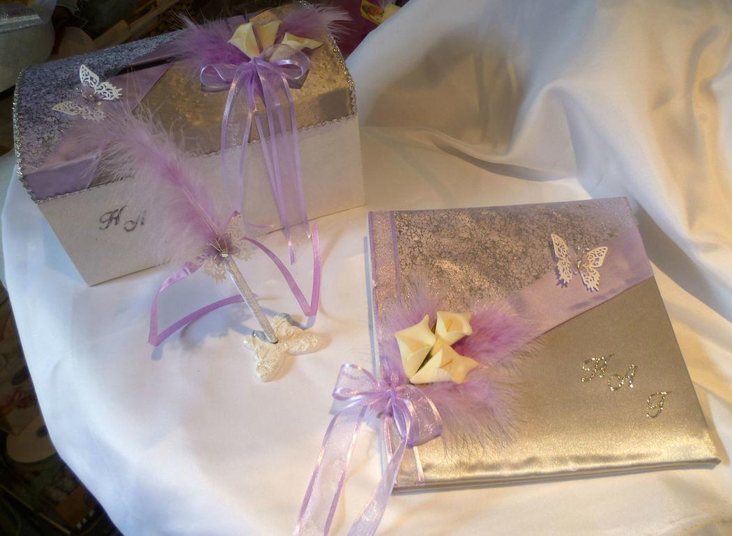 Urne, livre d'or et stylo thème PAPILLON satin blanc argent et parme, URNE et coussin sur demande