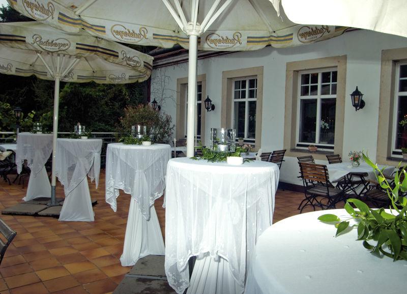Beispiel: Stehempfang Terrasse, Foto: Fischhaus.