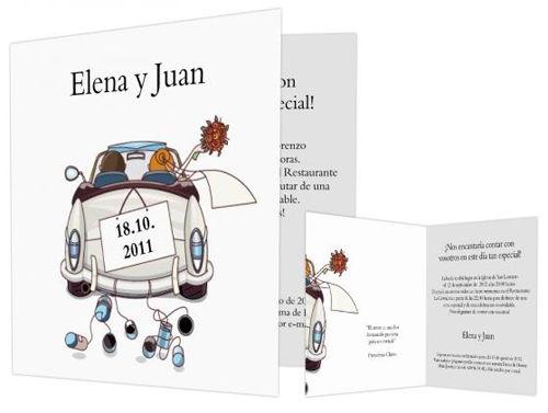 Invitación coche de bodas