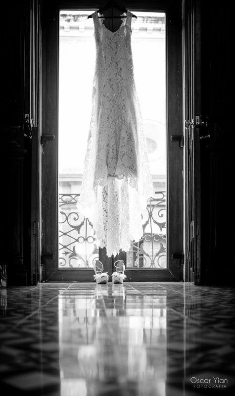 Vestido de novia en el getting ready