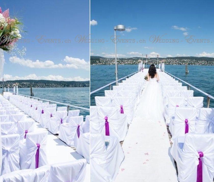 Eine Trauung auf dem Wasser-Steg : Hochzeitsplanung - Hochzeitsdekoration - Mietservice www.wedding-events.ch