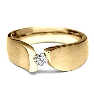Verse Joaillerie | Alianças de Casamento, Anéis de Noivado Anel de Noivado LEAF. Anel Solitário de Ouro Amarelo.